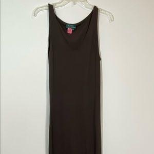 Lauren Ralph Lauren Brown Maxi Dress Sleeveless